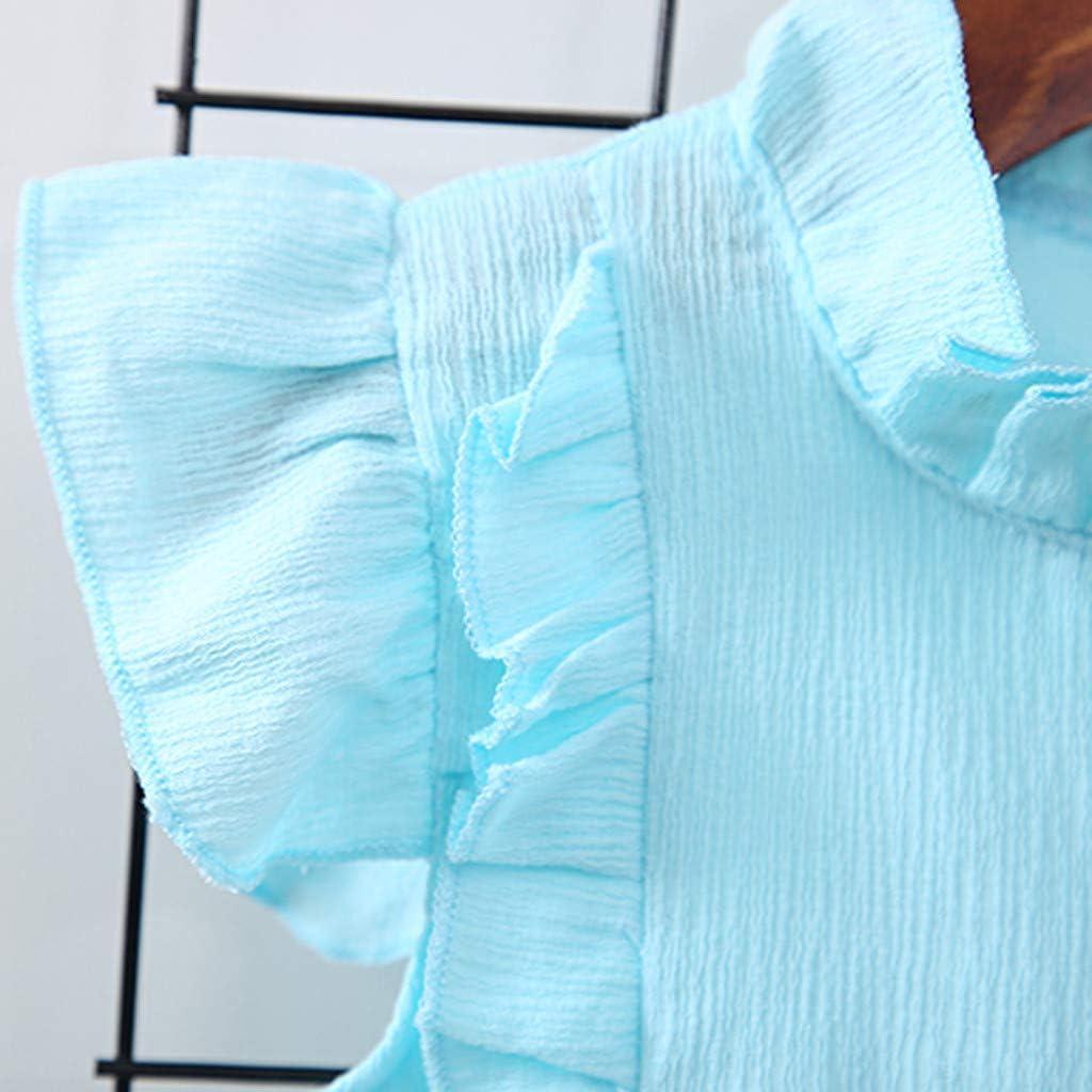 Shorts 2PCS Outfit Sets Summer Blue Fabal Toddler Kids Baby Girl Ruffled T Shirt Tops