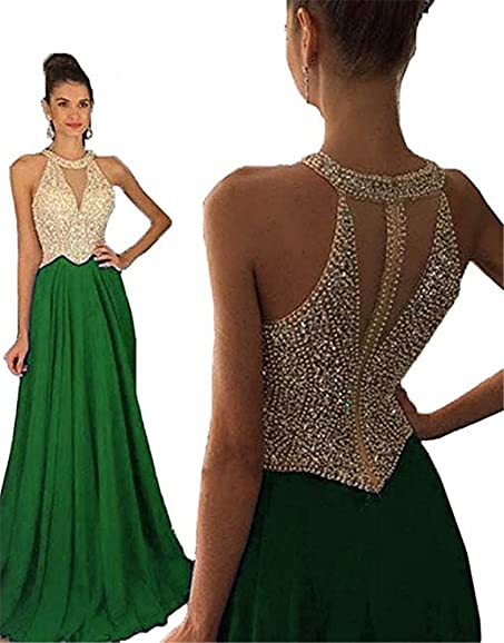 DESHE Women Crystal Beading Princess Long Elegant Evening dresses Green Party dresses Green 2017 bridesmaid dresses