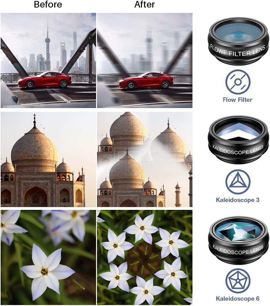 Samsung,etc Travel in Class 10 in 1 Phone Camera Lens Kit-Macro+Wide Angle Lens /& Fisheye /&Telephoto+CPL//Flow//Radial//Star Filter+Kaleidoscope 3//6+Remote Shutter for iPhone w//A Zipper Case SEGEMS