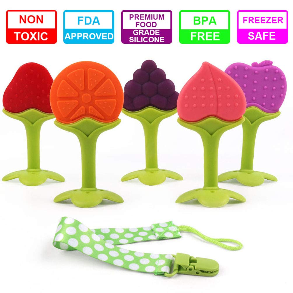 Baby Teething Toys, 5 Pack Soft Silicone Fruit Teethers with Pacifier Clip, Freezer Friendly BPA Free Teething Relief Sensory Toy Baby Shower Gift Sets TYRY.HU YYY943-12345