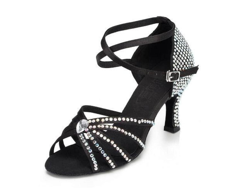 Noirheeled7.5cm Jchaussures Cristaux Féminins Sparking Satin Latin Salsa Chaussures De Danse   Tango   Chacha   Samba   Moderne   Chaussures De Jazz Sandales Talons Hauts,noirheeled7.5cm-UK5 EU37 Our38 UK4.5 EU36 Our37
