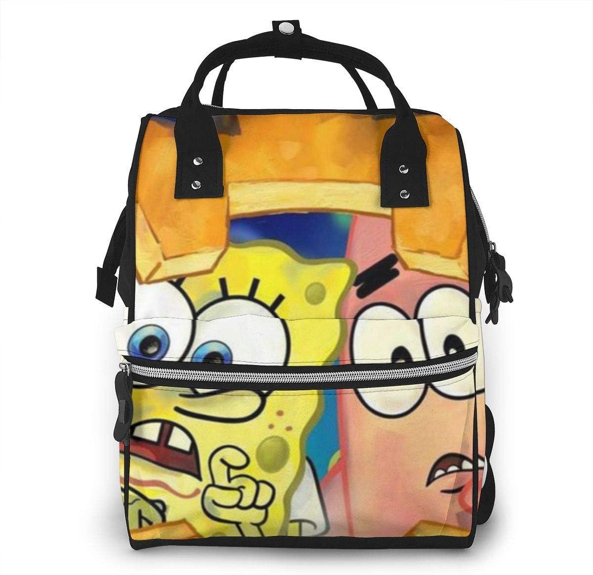 Bolsa de pañales para bebé de Bob Esponja y Patrick Mommy, multifunción, gran capacidad, mochila de viaje para pañales
