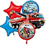 Lego City Balloon Bouquet Fire Truck Stars Birthday Party Supplies