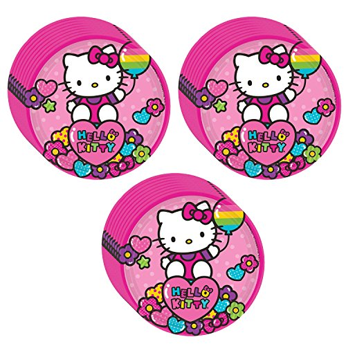 (Hello Kitty Rainbow Party Dessert Plates - 24 Pieces)