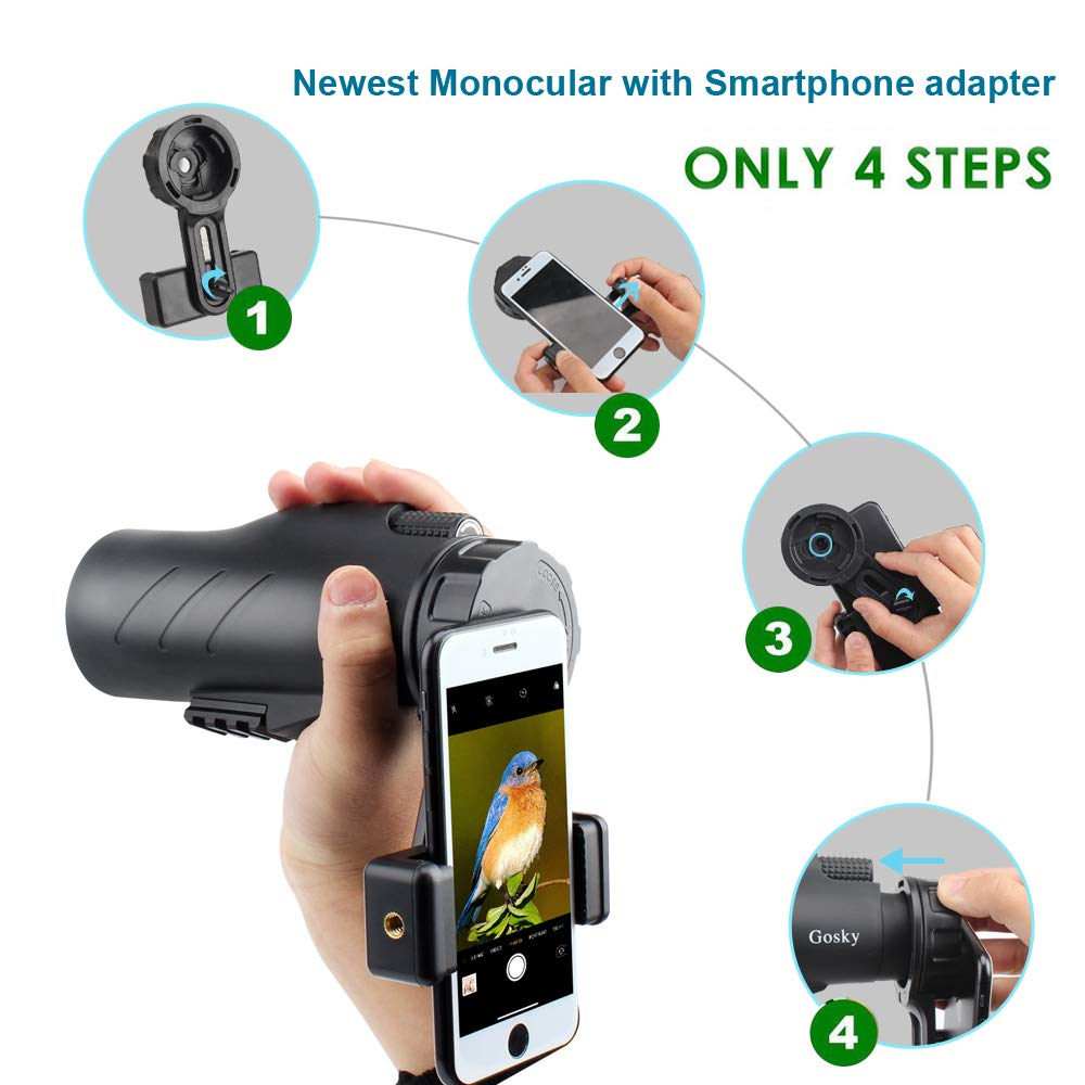 Gosky 12x50 Ultra HD Monocular with Picatinny Rail for Rifle-2019 New Waterproof Hunting Monocular with Scope Mounting Base Rifle Rail and Smartphone Holder for Hunting Survival Wildlife Bird Watching by Gosky (Image #6)