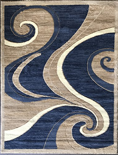 Americana Modern Area Rug Blue Beige Swirl Design 144 (6 Feet X 9 Feet)