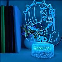 3D-illusionslampa LED nattlampa anime Rem Re noll figur färgändring för barn födelsedag familjefest dekoration kontroll