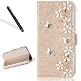 Diamand Case for Huawei P20,Bling Glitter Folio Case for Huawei P20,Leecase Luxury Noble Sparkle Shining Gold Butterfly Flower Pattern Protect Cover for Huawei P20