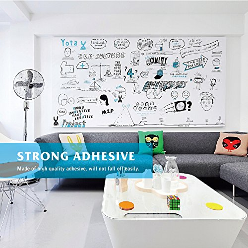 """Prefer Green Self-Adhesive Whiteboard Wall Decal Sticker, 78.7"""" × 17.5"""" Extra Large Strong & Durable Dry Erase Wall Paper Message Board for Kids, Office, School & Home with 1PCS Marker Pen (White) by Prefer Green (Image #1)"""