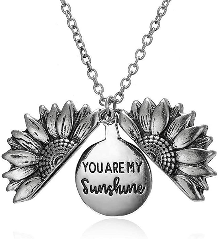 starchenie Sunflower Locket Necklace You are My Sunshine Pendant for Women Girls