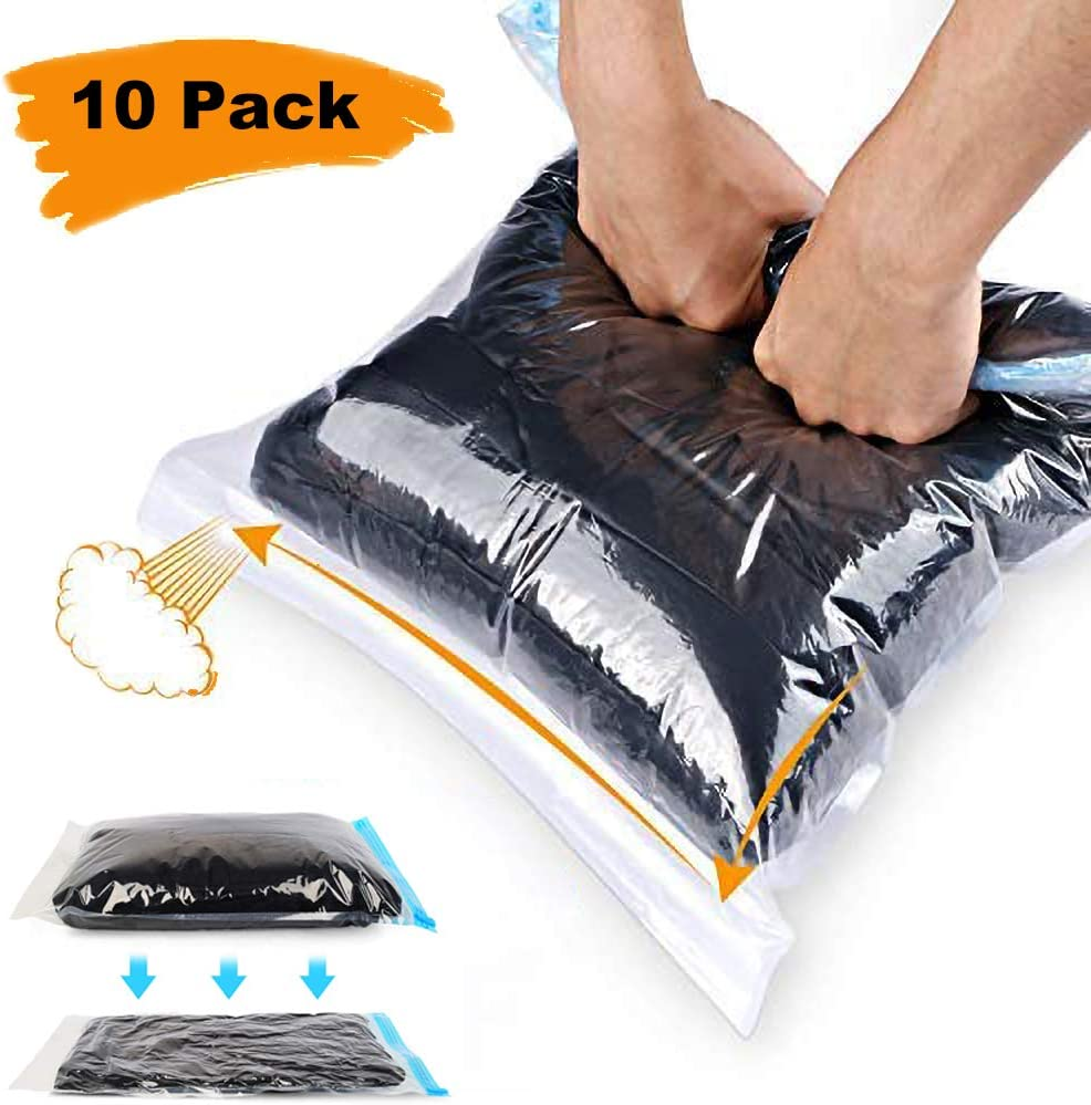 ALMING Travel Space Saver Bags Vacuum-Storage-Bags - (10 Pack) Fully Transparent 100% Waterproof, No Need for Vacuum Pump, Reusable Hand Roll Compression Storage Bag