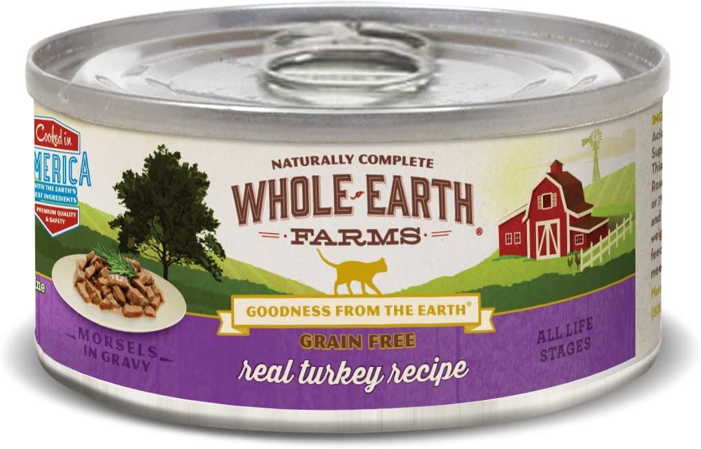 Whole Earth Farms Grain Free Wet Cat Food Real Turkey (24) 5oz cans