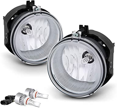 Driver and Passenger Side VIPMOTOZ Front Fog Light Lamp For 2006-2010 Dodge Charger Built-In COB LED Bulbs Smoke Lens Metallic Chrome Housing