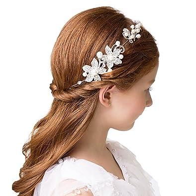 fvermecky子供髪飾り アクセサリー ジュニア フォーマル ドレス カチューシャ 花嫁アクセサリーかんざし 櫛 くし 結婚式  花嫁ヘアスタイル飾り 夏祭り 髪飾り キラキラ クリスタル 華やかなアクセサリー ドレス 振袖 留袖 (白)