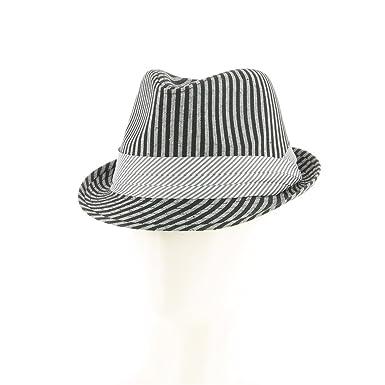 Nicolas Deschamps - Chapeau type borsalino à rayures noires et grises - Noir,  Taille Unique 29cb2cb77e6