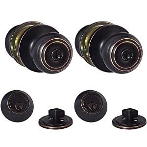 AmazonBasics Entry Knob and Deadbolt - Classic - Oil Rubbed Bronze - 2-Pack