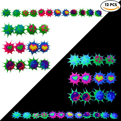 Spiky Silicone Stud Earrings for Women,Teens,Girls,Kids   Multicolored Rave Ball Earrings  Soft Hypoallergenic Silicone Spikes for Fidget and Sensory   Frogsac (SET OF 12 Heart/Peace)