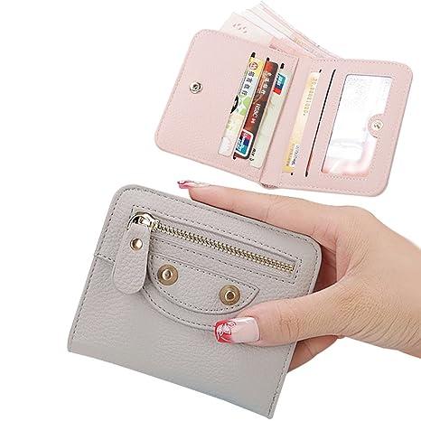 4835d13683 Mini Portafoglio Donna in Pelle,2018 Nuova Borsa delle Donne di Cuoio Mini  Portafoglio Carta Titolare Zip Piccola Moneta Frizione, 11x9,5x1.5cm