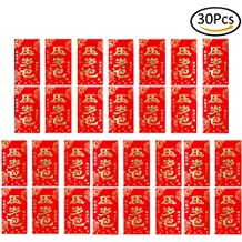 """LONG7INES Pack of 30 Pcs Chinese Red Envelopes """"New Year's Money Bag"""", Hong Bao Red Money Envelopes Gift for Wedding Baby Kids Birthdays Chinese New Year"""