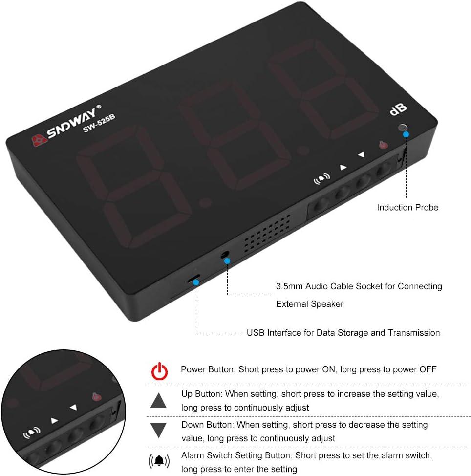 Medidor de Sonido Medidor de Ruido Decibel/ímetros Port/átil Conservar Datos Autom/áticamente y Alarma Digital Sound Level Meter con Pantalla LCD Rango de Medici/ón 30db-130db