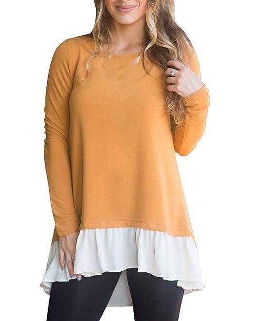 Primavera Otoño Mujeres Larga Tops Moda Patchwork Blusa Remata tee Jumpers Casual Cuello Redondo Camisetas de Manga Larga Túnicas T-Shirt Blouses: ...