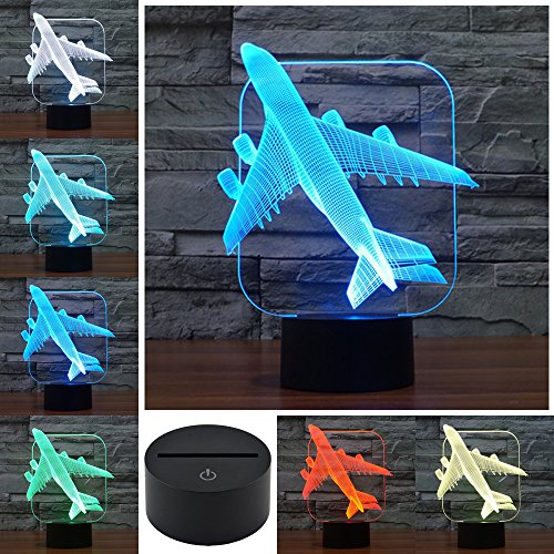 Night Lamp Echodream 3D Illusion 7 colorful effect Change Touch Switch USB Table Light Awesome Toy Gift Decoration for Boys and Girls (Plane)
