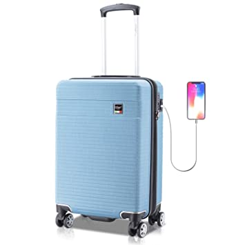 Villago Hardshell Carry On USB port Polycarbonate 8 Wheel Spinner with Slash Proof Zipper TSA Lock