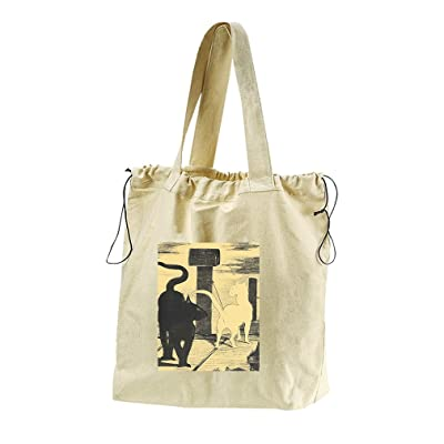 Rendevouz Of Cats (Manet) Canvas Drawstring Beach Tote Bag
