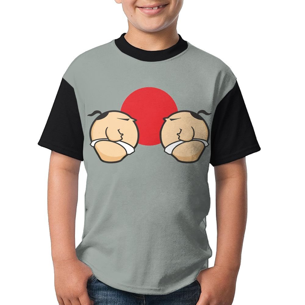 Adolescent Sumo Wrestling Match Shirt,Boys Short Sleeve Tee