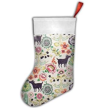 Personalizado de cabra blanco medias de Navidad Craft - Medias de Navidad decoraciones navideñas medias de moda para niños niña gatos hombres profesor: ...