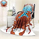 YOYI-HOME Luxury Collection Ultra Soft PlushSeashells and Red Coral Frame Aquarium Cockleshell Branch Bubbles Claws Nature All-Season Throw/Bed Blanket /W47 x H79
