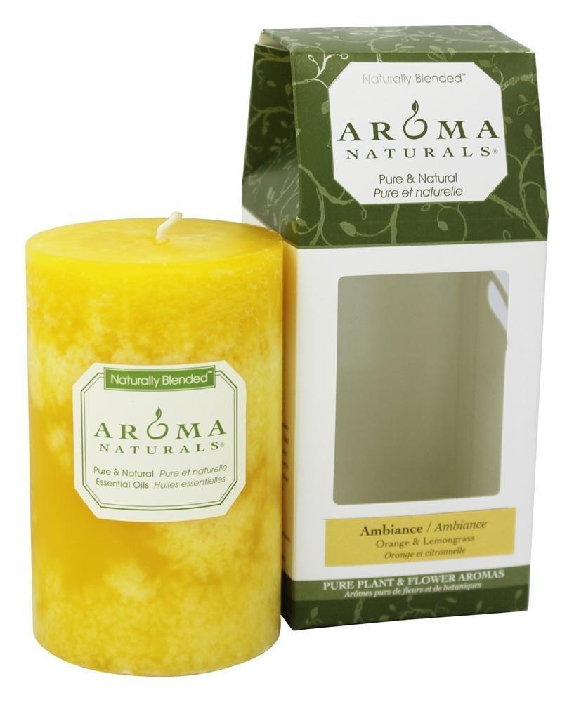 Aroma Naturals - Ambiance Naturally Blended Pillar Eco-Candle 2.5'' x 4'' Orange & Lemongrass