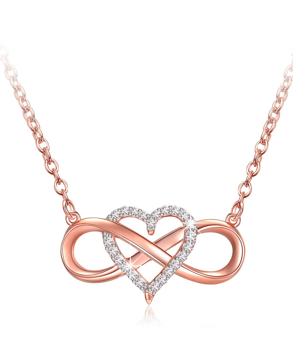 EVER2000 Infinity Heart Necklace, 925 Sterling Silver Necklace Rose Golden Pendant Gift for Mom Friend Lover (Rose Gold)