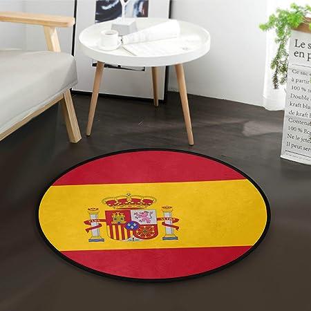 Alfombra de juegos redonda con bandera de España y base antideslizante de 36,2 pulgadas de diámetro: Amazon.es: Hogar