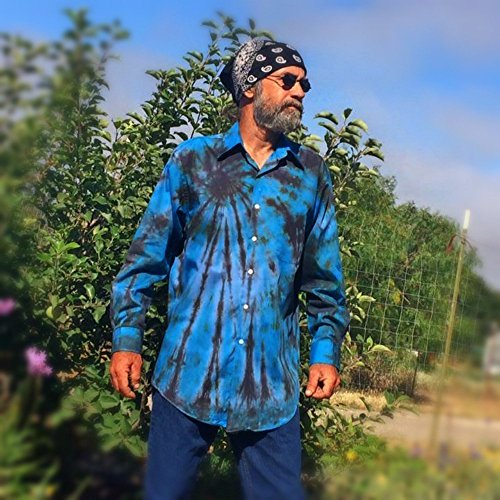 Blue Tie Dye Button Up Shirt - M by Incense and Peppermints