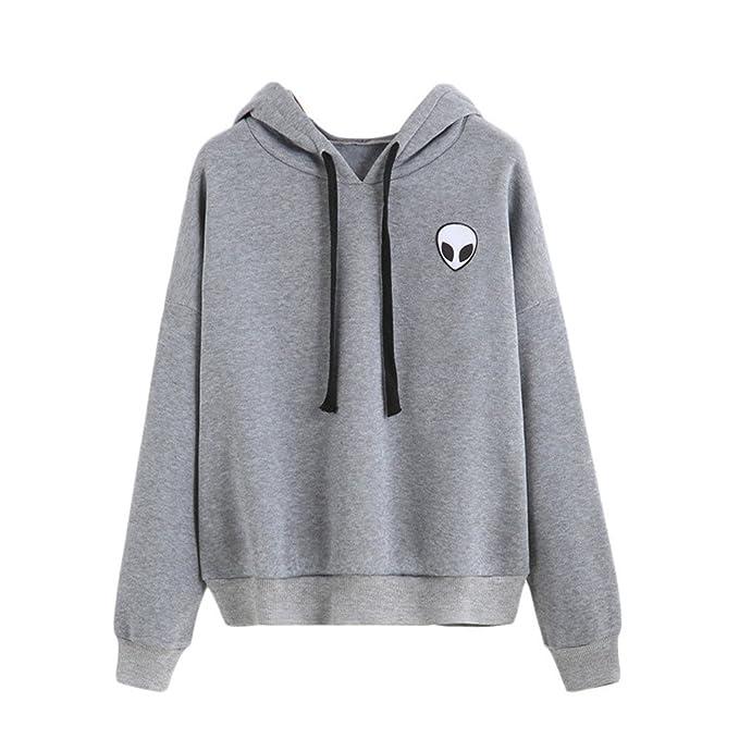 COCO clothing Sudaderas con Capucha de Mujer Blusas Juvenil Redondo Alienígena Imprimen Basica Deportivas Hoodie Sweatshirt