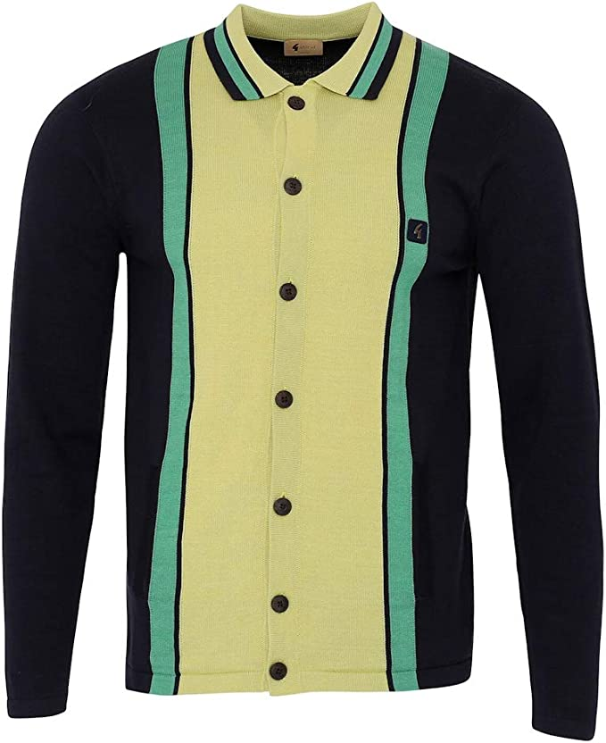 Men's Vintage Sweaters, Retro Jumpers 1920s to 1980s Gabicci Mens Davison 60s Retro Striped Button Knit Cardigan £62.26 AT vintagedancer.com