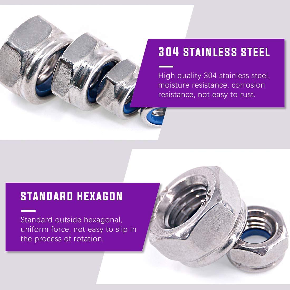 Set of 125 Stainless Steel M3 M4 M5 M6 M8 M10 M12 Nylon Insert Lock Hex Nuts