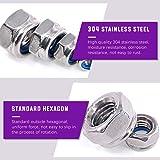 Swpeet 100Pcs 304 Stainless Steel Metric Lock Nut