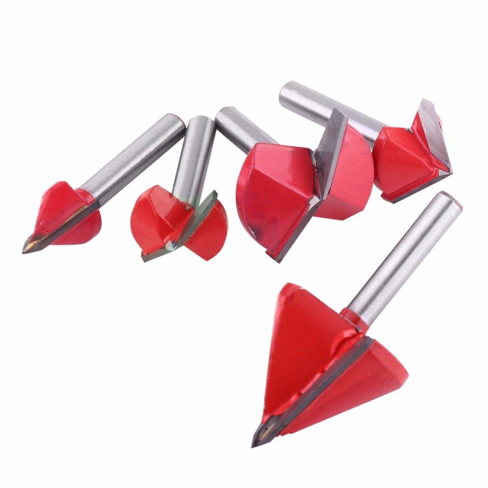 Toolstar Fraise /à rainurer en V avec pointe en carbure de tungst/ène 2 cannelures CNC 6 mm Tige 3D V Rainure pour travail du bois Outil de coupe pour gravure et taillage rouge 60-150 degr/és