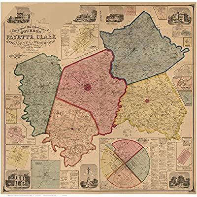 Bourbon, Fayette & Clark Counties Kentucky 1861 - Wall Map with Homeowner Names - Reprint
