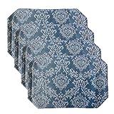 Charleston Blue Scroll Damask Vinyl Reversible Placemat Set - Set of 4