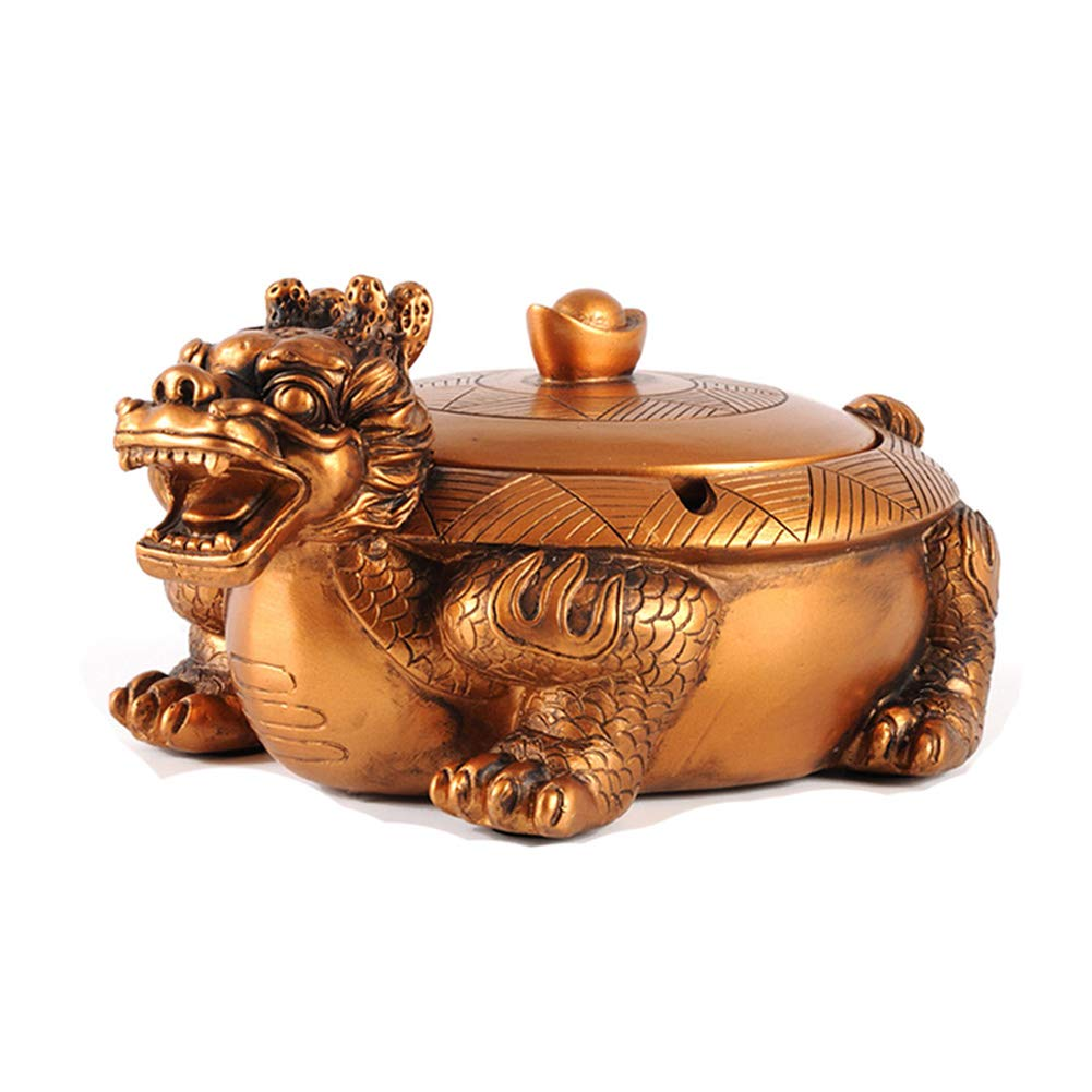 JNRONG-yhg Ashtray Resin, Classical Cover, Creative Nostalgic Office Living Room Coffee Table Ashtray Lucky Dragon Turtle Gold