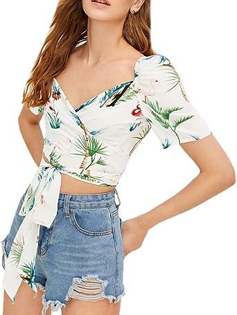 Crop Top Blusas Mujer Moda Joven De Tiras Floral Estampadas Blusas Superiores Manga Corta Recorte del Corazón Sin Barriga Camisas Camisas Único Classic: Amazon.es: Ropa y accesorios