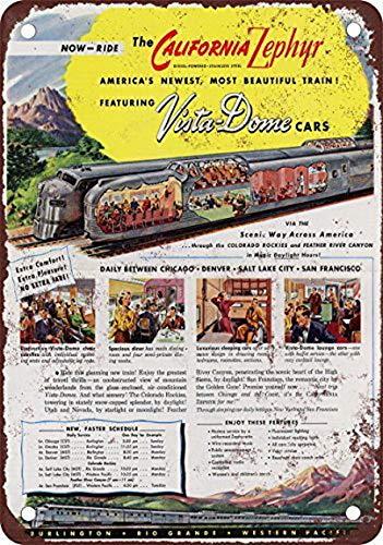 Houseuse 1949 California Zephyr Vista-Dome Vintage Look Reproduction Metal Tin Sign 12X16 -