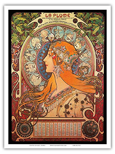 """Calendar La Plume (The Feather), Salon des Cent- Art Nouveau - La Belle Époque- """"Les Maitres de l'Affiche""""- Art Deco- Vintage French Advertising Poster by Alphonse Mucha ca.1897 - Master Art Print - 9in x 12in"""