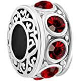 LovelyJewelry Filigree Charm Jan-Dec Simulated Birthstone Spacer Beads Forale Cheap Jewelry For Bracelets