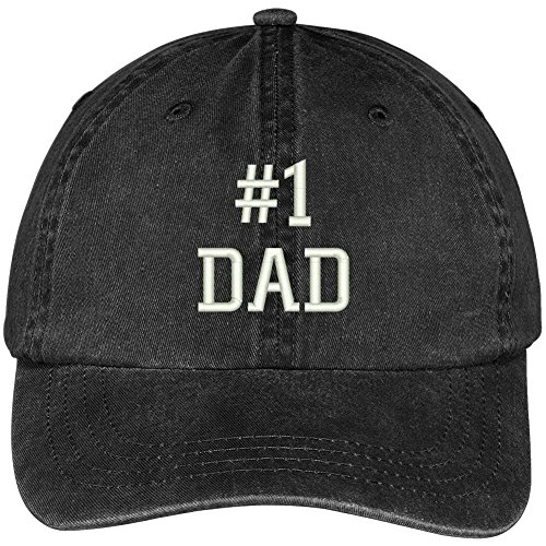 Pigment Number (Trendy Apparel Shop Number 1 Dad Embroidered Pigment Dyed Low Profile Cotton Cap - Black)
