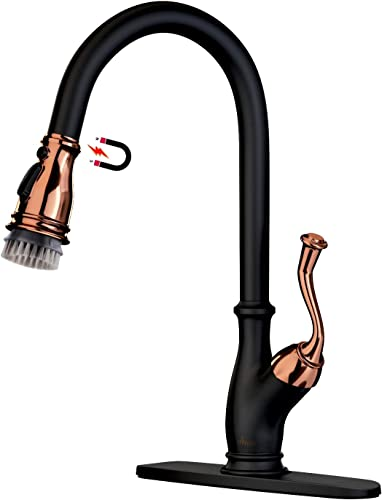 APPASO Pull Down Kitchen Faucet with Magnetic Docking Sprayer and Brush – Solid Brass Single Handle High Arc One Hole Pull Out Kitchen Sink Faucets, Matte Black Rose Gold, APS225BRG