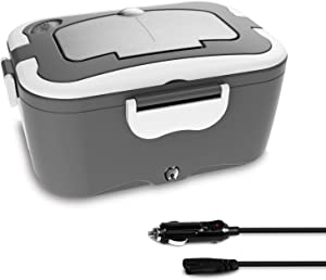 Self Heating Lunch Box Portable for Men Women Car,Truck,Camping Use 12V&35W Portable Food Warmer Heater with Removable 304 Stainless Steel Container and Free Spoon & Fork(Black)